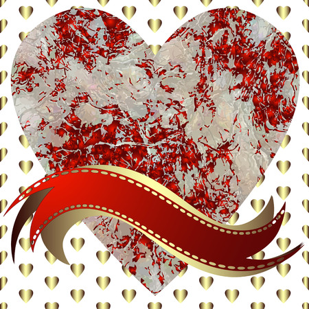 Image of heart on a hearts background in the form of square tiles (vector eps 10)