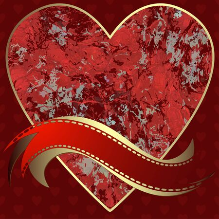Image of heart on a red background in the form of square tiles