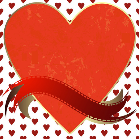 Image of heart on a hearts background in the form of square tiles