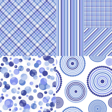 Set of seamless geometric patterns in white and blue tones. Vector. Eps 10