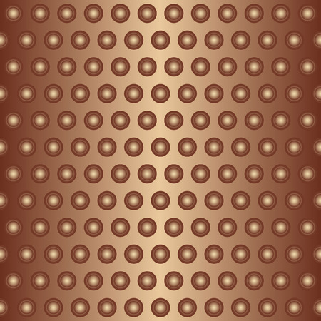 Shiny bronze gradient metal circles seamless dotted pattern. Vector eps 8