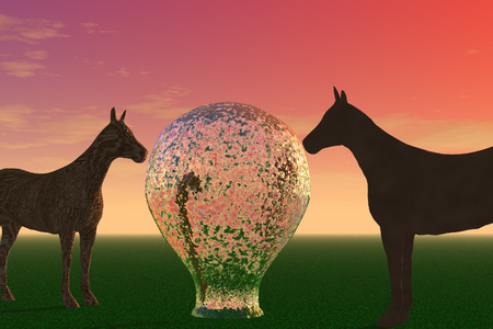 3d illustration: Mysterious horses sniff a huge lamp against the sunset