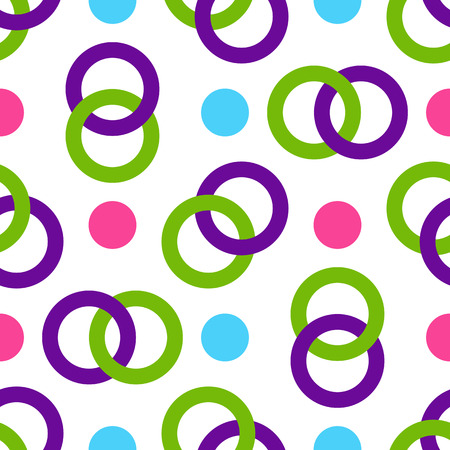 Seamless pattern of multicolored intertwining rings and balls. Transparent background. Vector image, eps 8