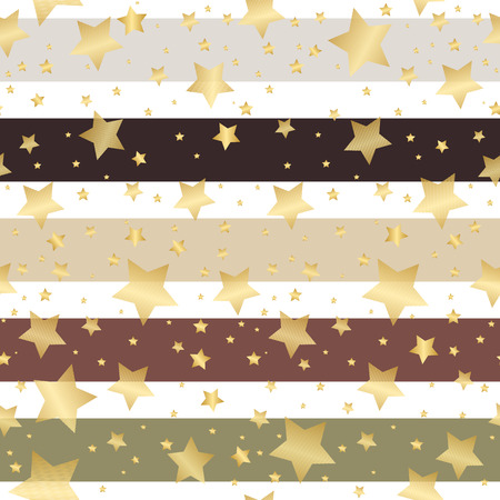 Seamless striped retro pattern with gold stars, vector eps 8