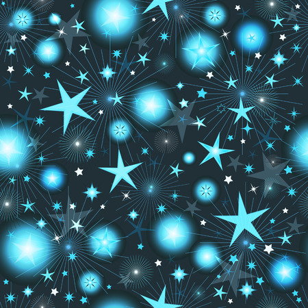 Seamless dark pattern with blue and silver stars, vector eps 10