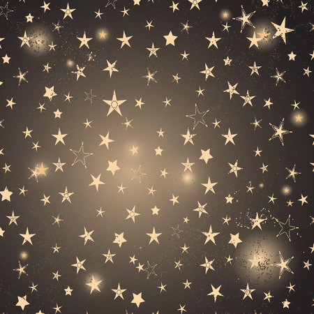 Elegant frame with gold stars and flashes. Vector image. Eps 10