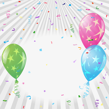 Silvery festive greeting frame with rays, colorful balloons with stars and confetti. Place for text. Vector image. Eps 10 일러스트