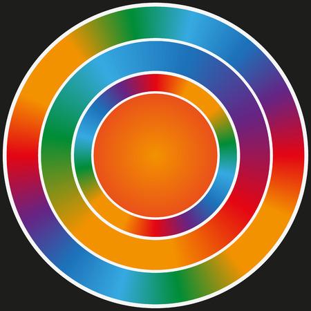 Rainbow circular glitter frame on a black background. Vector image. Eps 8