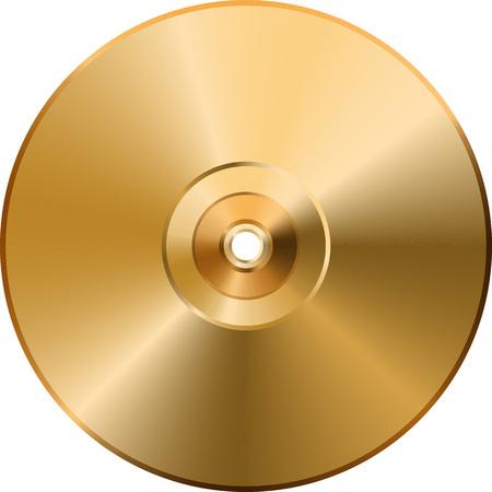 CD DVD golden disc isolated on transparent background. Vector image. Eps 10 Illustration