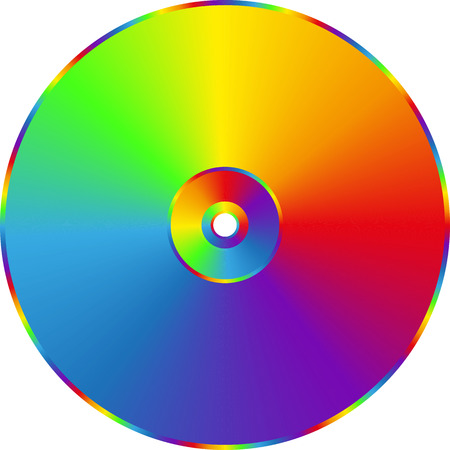 CD DVD rainbow disc isolated on transparent background.