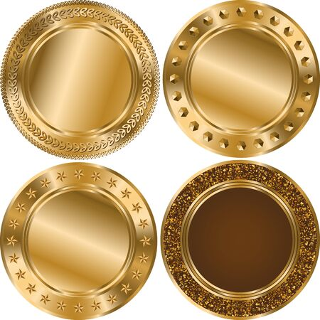 Set glitter round gold template with gold lines isolated on white background. Çizim