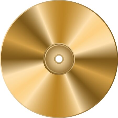 CD DVD golden disc isolated on transparent background.
