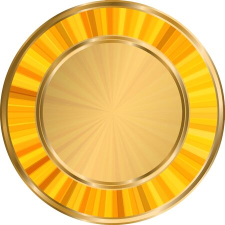 Round gold frame with gold sun rays on white background. 일러스트
