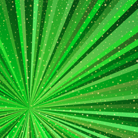 Bright abstract frame with green beams and gold stars. Vector image. Eps 10