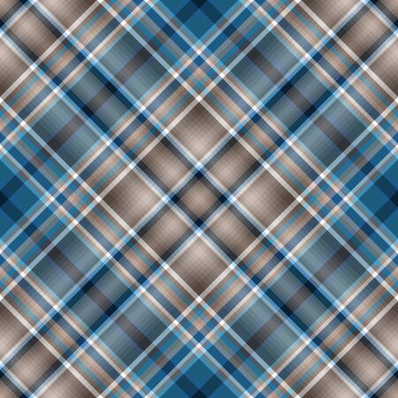 Seamless brown-white-blue checkered pattern.