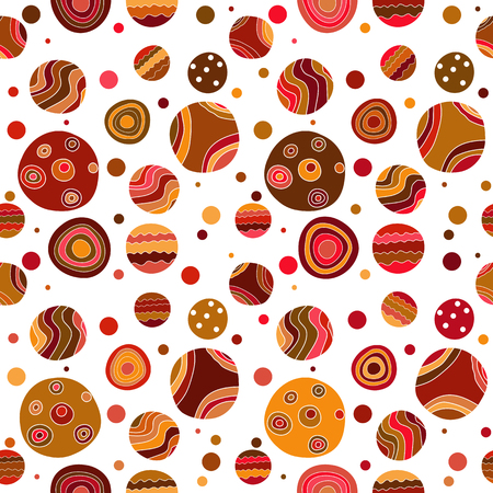 Seamless pattern with colorful grange doodle polka dots on transparent background. Vector image. Eps 8 Illusztráció