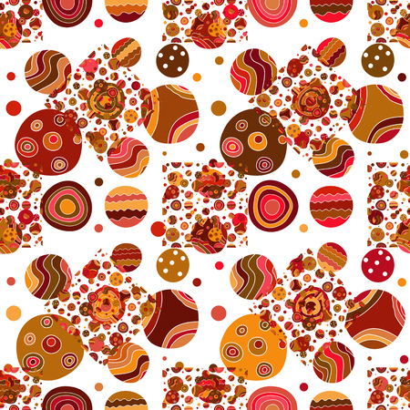 Seamless pattern with colorful grange doodle polka dots on transparent background. Vector image. Eps 10