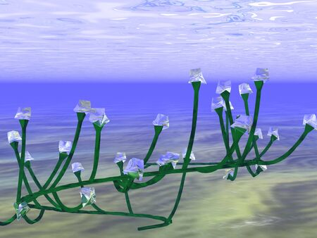 3d illustration: A mysterious object under water similar to an electric garland Imagens