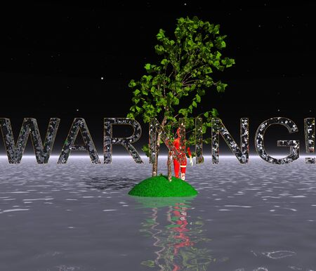 3d illustration: A mysterious island with a tree in the ocean with a proactive warning