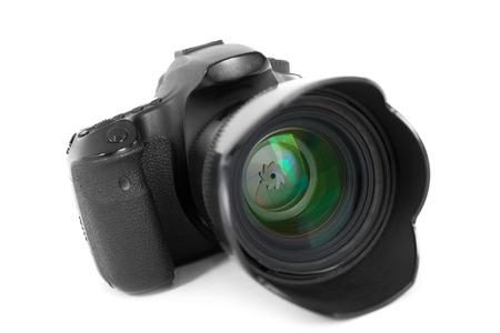 photocamera: dslr photocamera isolated on white