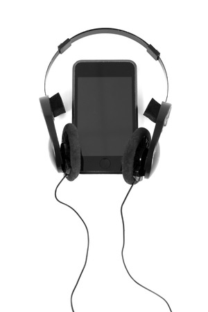 audio player: audio player with headphones isolated on white background