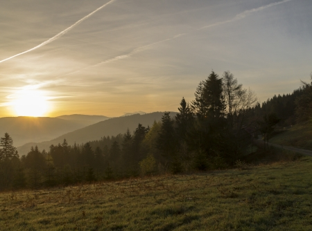 central europe: sunrise over the mountains of Central Europe Stock Photo