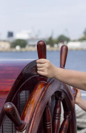 Ship steering wheel photo