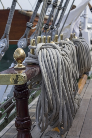 catenation: Binding of ropes on a sailing ship Stock Photo