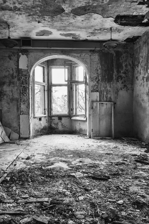 Destroyed, abandoned room in the former headquarters of Freemasonry in Gdansk, Poland photo