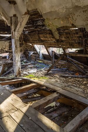Collapsed ceiling in the former headquarters of Freemasonry in Gdansk, Poland photo