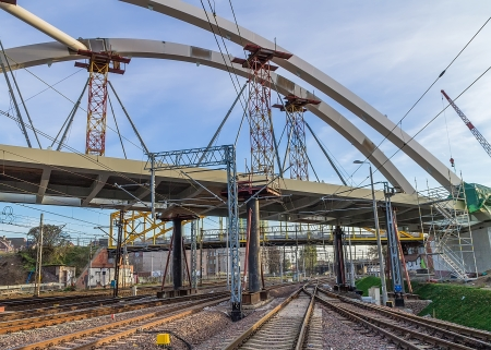 Construction of a bridge at the way New Walowa in Gdansk photo
