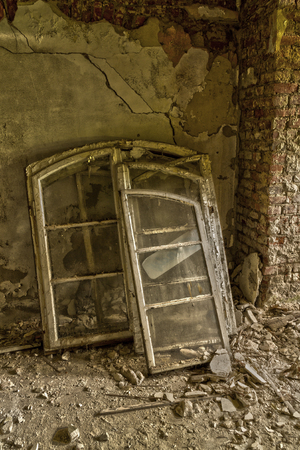 destructed: Old window in abandoned house Stock Photo