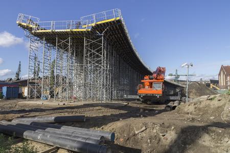 basis: Construction of a bridge at the way New Walowa in Gdansk Stock Photo