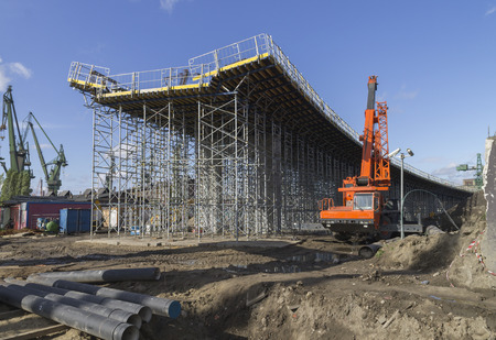 site preparation: Construction of a bridge at the way New Walowa in Gdansk Stock Photo