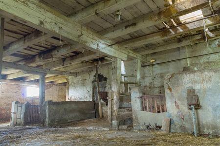 The old wooden abandoned barn on the Vistula delta photo