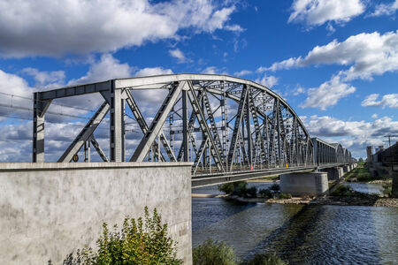 viaducts: Steel railroad bridge over the river Wisla in Tczew