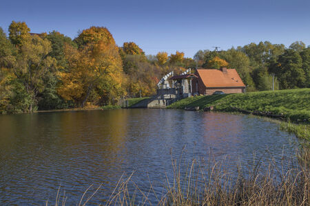 chemal: Small hydroelectric power plant on the river Radunia near the town of Gdańsk, Poland