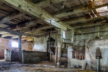 rickety: The old, abandoned barn located on the Vistula delta, Poland Stock Photo