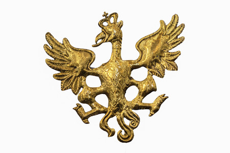 dominance: Golden Eagle with open wings, sign of Nations, emblem of the king