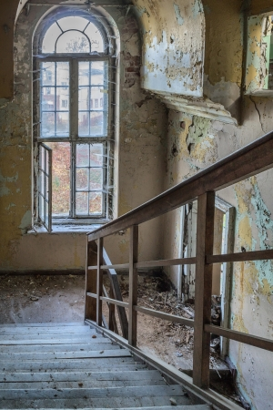water damage: Damaged stairs in the building of the old Masonic headquarters in Gdansk, Poland Stock Photo