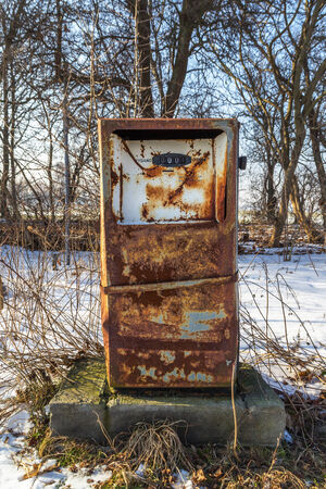 fuelling pump: Old fuel distributor in abandoned factories