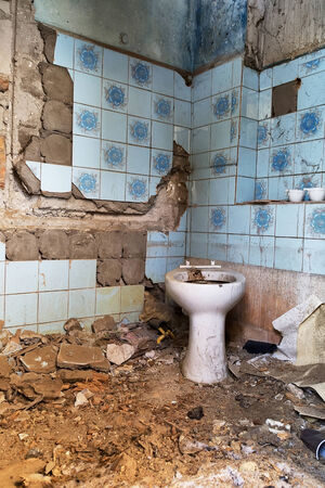 devastated: Toilet in an abandoned, devastated house