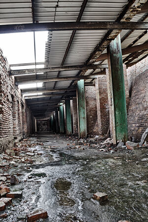 abandoned factory: Interior of an abandoned factory Stock Photo