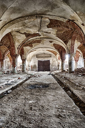oldened: Destroyed stables with brick vault with an pillars Stock Photo