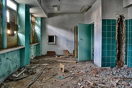 degradation: Corridor in an abandoned hospital