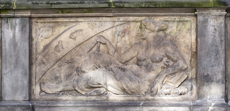 Bas-relief on the street St. Marys in Gdansk, Poland photo