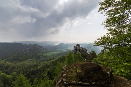 View of the rock formations in eastern Germany Bastei photo