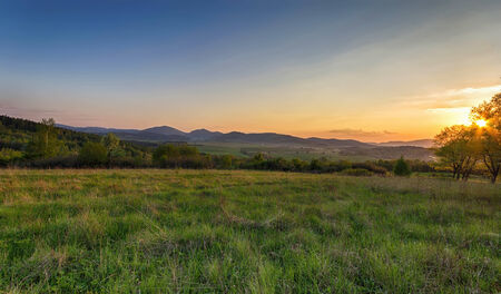 Sunset over the Sudeten Mountains in Poland