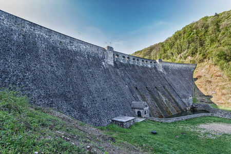 The dam on the lake Bystrzyca in Poland, Europe photo