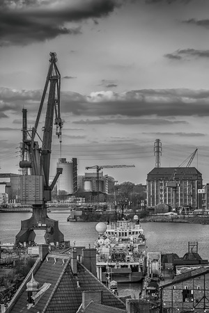 Shipbuilding crane in the city of Gdansk, Poland photo